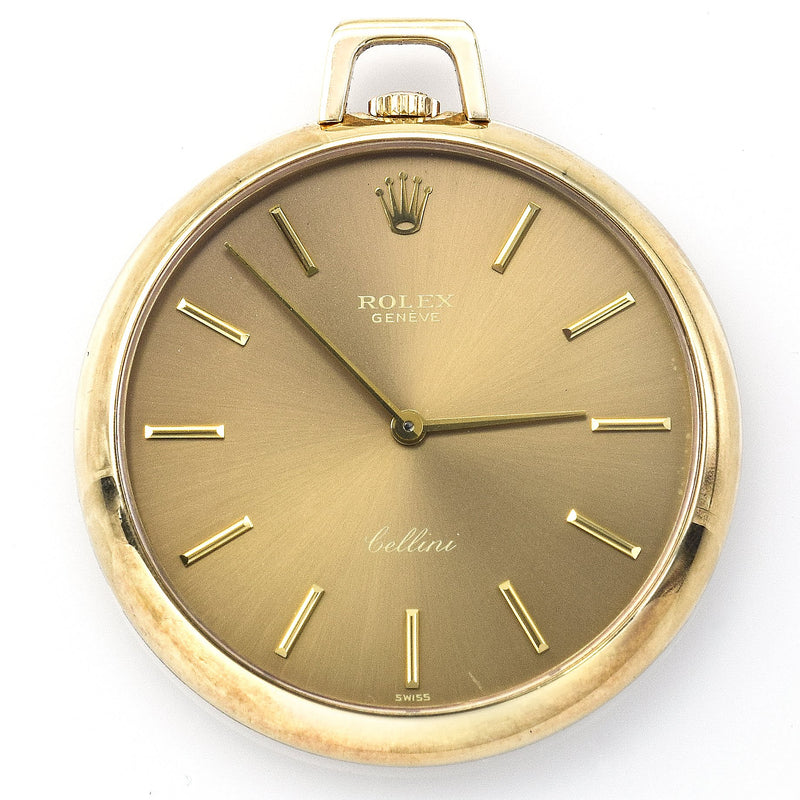 Vintage Rolex Cellini 14K Gold Bronze Dial Pocket Watch Ref.3718