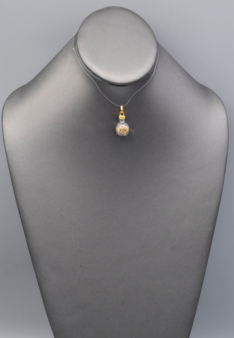 Vintage 18K Yellow Gold Flakes Glass Bottle Charm Pendant