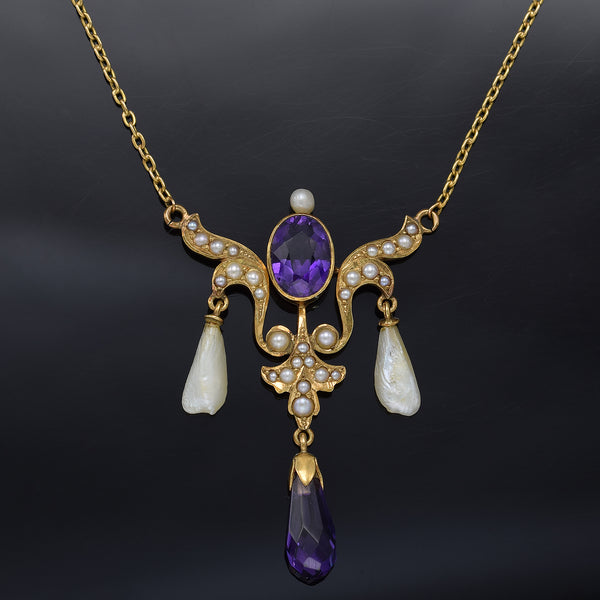 Antique 14K Yellow Gold Amethyst & Sea Pearl Pendant Necklace