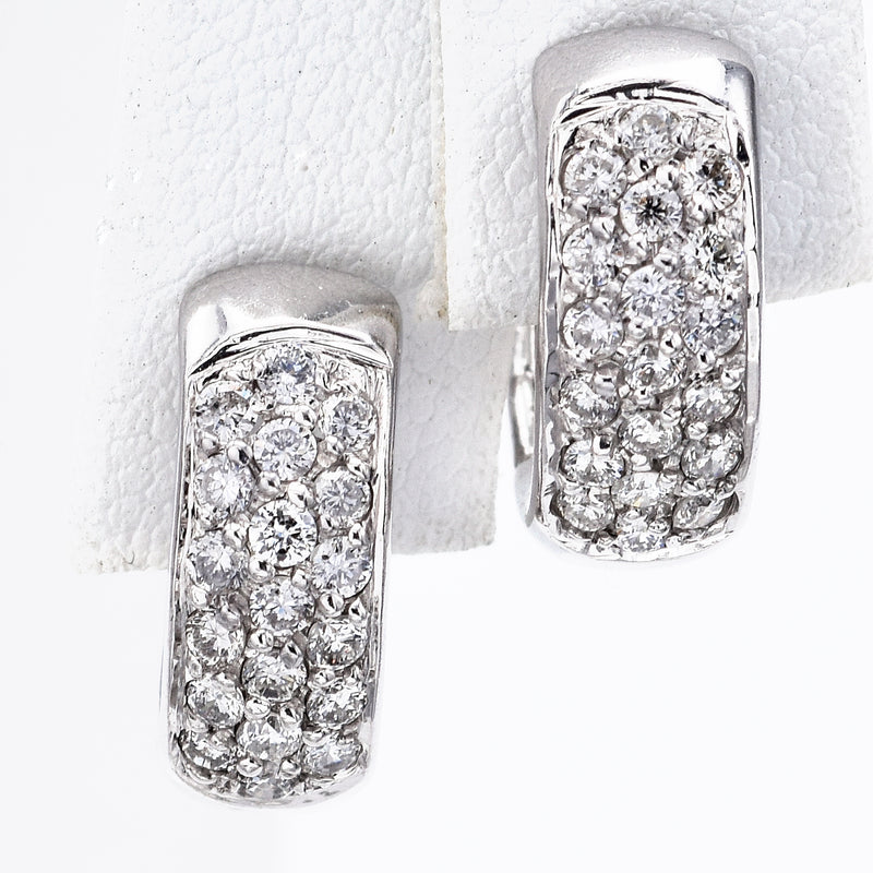 Estate 14K White Gold 0.76 TCW Diamond Three-Row Huggie Hoop Earrings