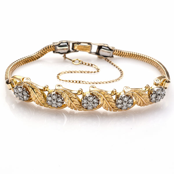 Jabel Vintage 18K Gold 1.05 TCW Single Cut Diamond Add-a-Link Bracelet