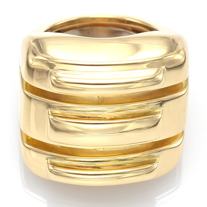 David Webb 18K Yellow Gold Ridged Square Wide Band Ring + Pouch