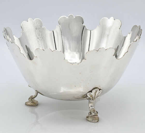 Tiffany & Co Sterling Silver Footed Montieth Bowl No Monogram Crown Top