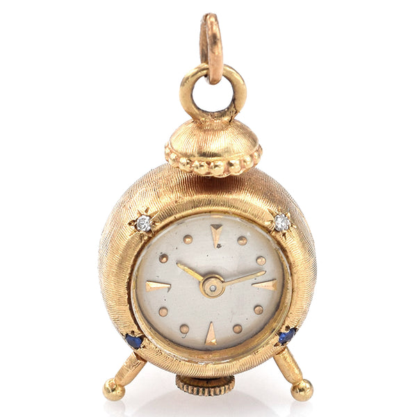 Vintage 14K Yellow Gold Diamond & Sapphire Hand Wind Clock Charm Pendant