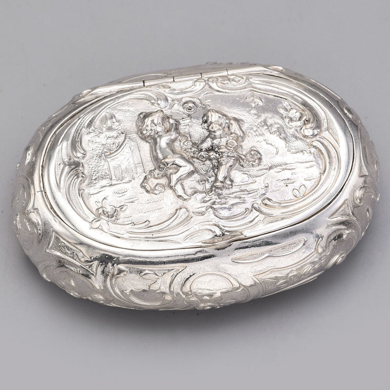Antique 800 Silver Cherub Etched Oval Trinket Pill Box Case