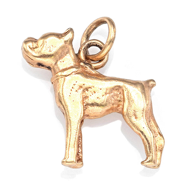 Vintage 14K Yellow Gold Boxer Dog Charm Pendant