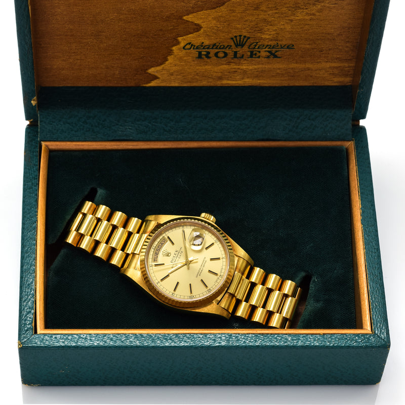 1980 Rolex President Day-Date 18K Gold Men's Automatic Watch + Box Ref. 18038