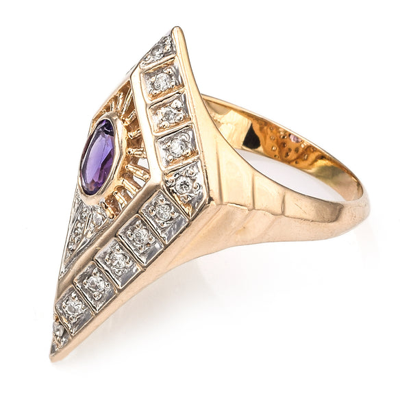 Erte 14K Yellow Gold Amethyst & 0.35 TCW Diamond Art Deco Cocktail Ring