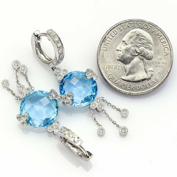 Vintage 14K White Gold Blue Topaz & 0.45 TCW Diamond Dangle Earrings 8.4G H/I