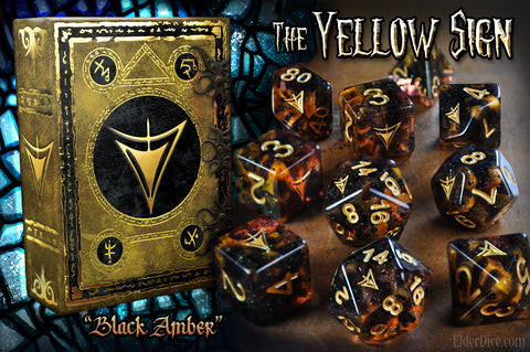 The Yellow Sign in Black Amber