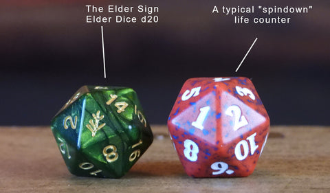 Difference between standard sized rpg d20 and a spindown counter