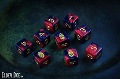 Red and Black Necronomicon d6 dice set