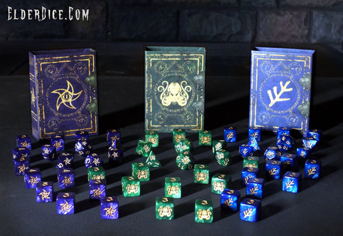 The complete collection of the alternate colors of the original Elder Dice.