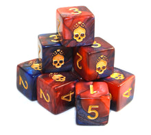 "The ""Blood and Magick"" d6 skull dice set"