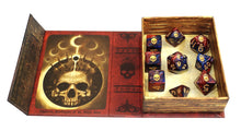 "The red and blue ""Blood and Magic"" edition of the Necronomicon Dice"