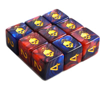 The blue and red Necronomicon d6 dice