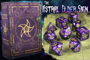 The Astral Elder Sign purple polyhedral dice set