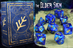 Blue Elder Sign Dice with spellbook grimoire box