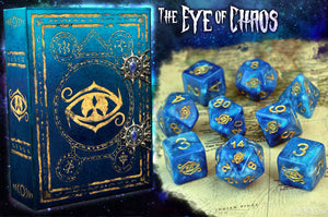 Blue swirl eye of chaos polyhedral dice set