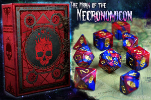 "Red and Blue ""Blood and Magic"" Necronomicon Dice polyhedral set"