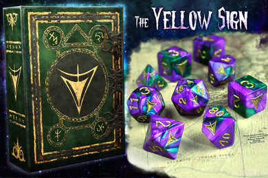 purple and green swirl Yellow sign mask edition polyhedral dice