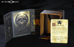 Green Brand of Cthulhu deck box with lore card