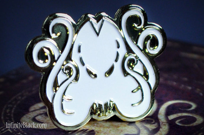 Cthulhu Pin - Gold and White Enamel