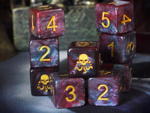 Yog-Sothoth dice d6 set red and blue nebula edition