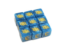 blue swirl Eye of Chaos d6 dice set