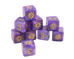 the star of azathoth d6 dice set on white
