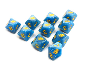 blue eye of chaos dice set on white