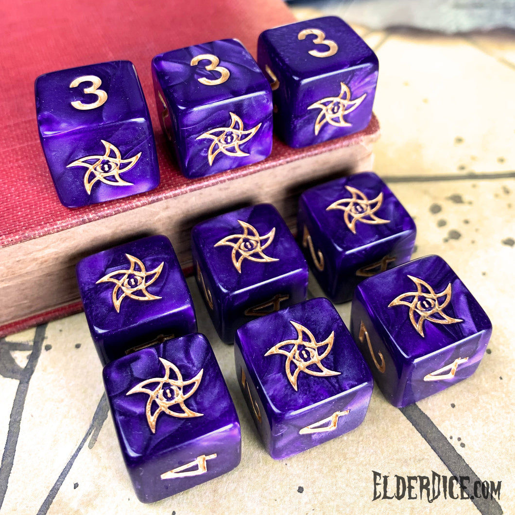 Mystic Purple d6 Elder Dice set with Astral Elder Sign