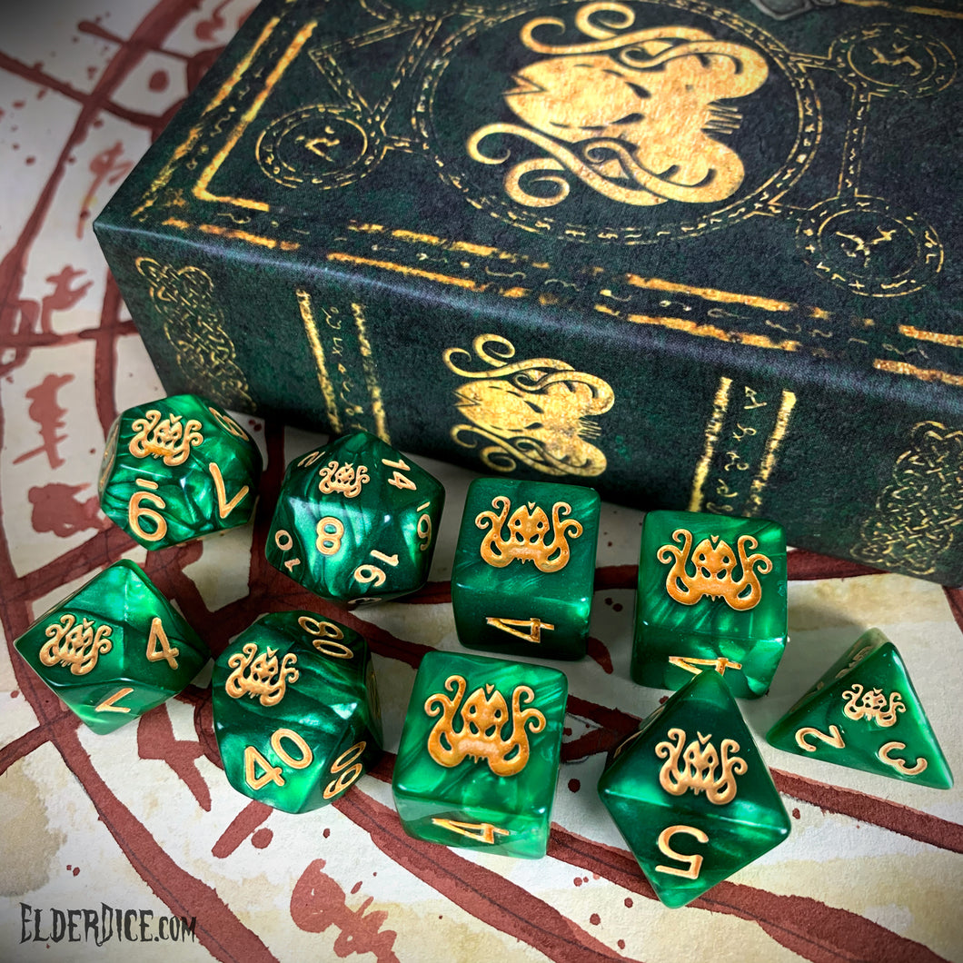 Brand of Cthulhu Dice - Drowned Green Polyhedral Set
