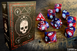 Elder Dice blood and magick Necronomicon dice with white paint