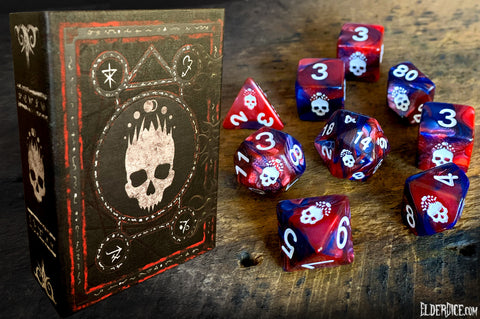 bone-white paint red and blue necronomicon dice