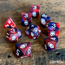 The blood and magick Mark of the Necornomicon dice with bone-white paint