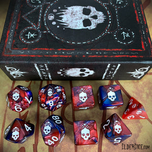 Mark of the Necronomicon Dice - Bone White on Blood and Magick Polyhedral Set