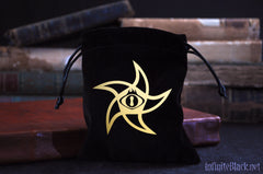 Black velvet astral elder sign dice bag with gold symbol