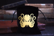 Black velvet dice bag featuring the Brand of Cthulhu