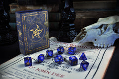 Blue Astral Elder Sign polyhedral dice set