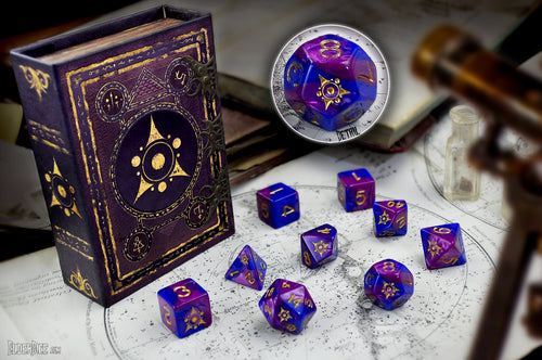 Blue and purple Sigil of the Dreamlands dice with spellbook grimoire