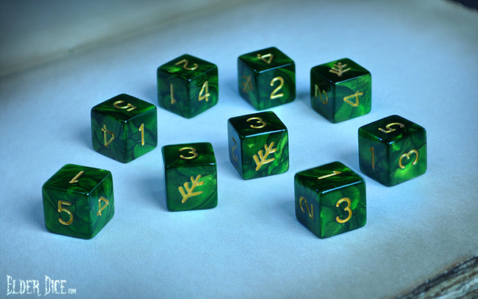 Elder Dice - Tube of Green Lovecraft Elder Sign d6 Dice