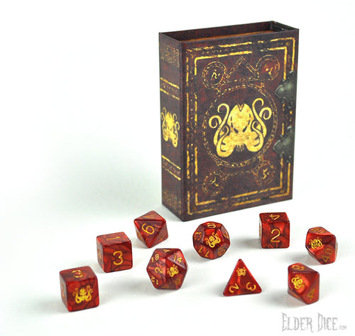 Elder Dice - Red Cthulhu Polyhedral Set