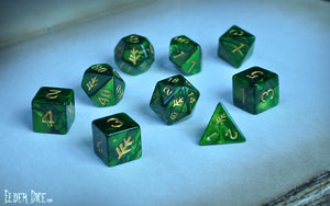Green Elder Dice Polyhedral Set