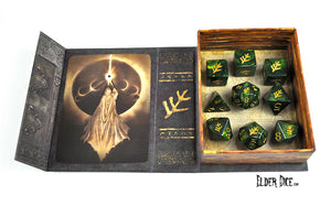 Elder Dice - Green Lovecraft Elder Sign Polyhedral Set