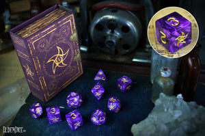 the mystic purple astral elder sign polyhedral dice set