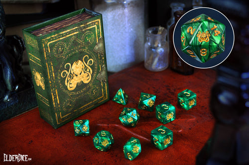 Drowned Green Cthulhu elder dice polyhedral set with spellbook grimoire