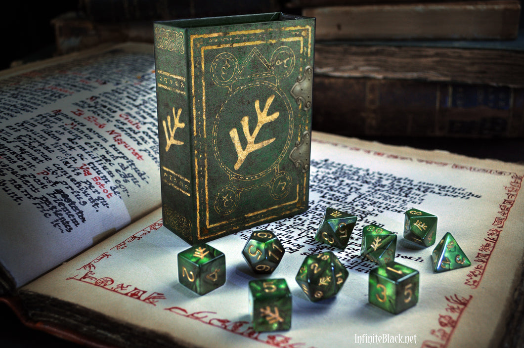 Green Elder Sign Polyhedral dice set displayed on book