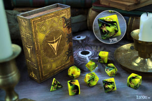 Elder Dice set featuring the Yellow Sign symbol in yellow and black