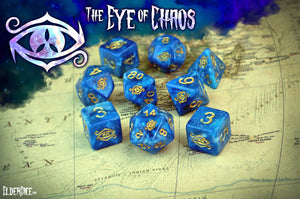 Eye of Chaos Nebula edition polyhedral set close up